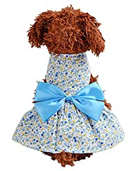 2 Pcs Dog Cat Skirt Spring Summer Floral Skirt Pet Party Princess Dresses Costume (Pink + Blue) by hikong