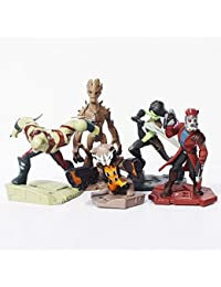 5Pcs/Set Guardians of the Galaxy Groot Rocket Raccoon Drax the Destroyer Star Lord PVC Action Figure Model Toys Dolls 5~10cm