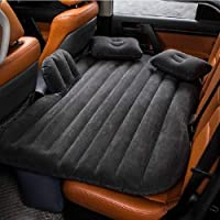 SHOPPOFOBIX Polyvinyl Chloride, Suede Inflatable Travel Car Bed Air Sofa With Pillow And Air Pump, Black, 1 Air Mattress…