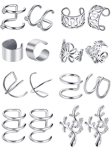 Blulu 8 Paar Edelstahl Ohr Manschette Nicht Piercing Clip auf Knorpel Ohrringe für Männer Damen, 8 (Stahl)