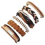 Mypace Silber Gold 925 Armreif Für Damen Herren Geflochtene Armbänder Vintage Multi-Layer Leder Armband Schmuck Geschenkmode