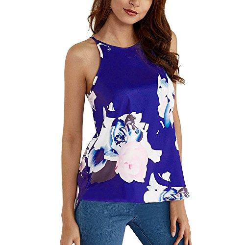 CAOQAO Damen Mode LäSsig Tunika Schulterfreie Schulter äRmellose Blume Gedruckt Tank Top Casual Bluse Weste ()