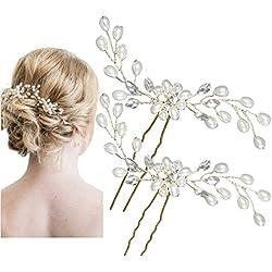 Damen Haarschmuck Accessoires Haarblumen Haargesteck Haarnadeln Perlen Hochzeit Strass Tiara Diadem Kristall WEISS Braut Haarschmuck Design