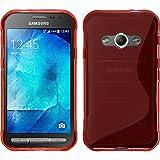 PhoneNatic Case für Samsung Galaxy Xcover 3 Hülle Silikon rot, S-Style + 2 Schutzfolien