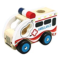 Bino 84081 Wooden Car Ambulance, Multicolour