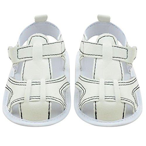 La Cabina Sandales Bébé Fille garçon - Chaussures Bébé Fille garçon -Chaussure Bébé Fille Garçon Premier Pas -Chaussures Souples Confortable - Chaussures Antiglisse pour été Printemps (0-18 mois ) (0- blanc