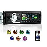 KYG Autoradio Bluetooth Car Stereo Chiamate Vivavoce Microfono Radio FM AM Lettore MP3 WMA con Slot Per Chiavetta USB e Scheda SD AUX DC 12V con Telecomando Nero