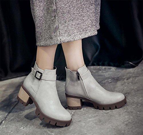 La signora della molla e gli stivali delle donne di autunno fibbia della cintura breve stivali Martin stivali partito tacchi alti stivali delle donne Grey