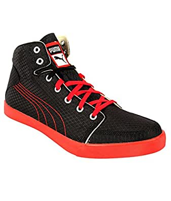 Puma Men's Drongos DP Black-High Red-Puma Silver Mesh Running Shoes - 10UK/India (44.5EU)