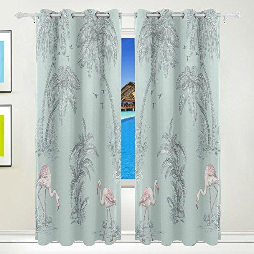 Okone pannelli tende oscuranti blackout grommet divisorio per patio finestra porta scorrevole in vetro con palme tropicali fenicotteri rosa e pannelli (139,7x 213,4cm,2)