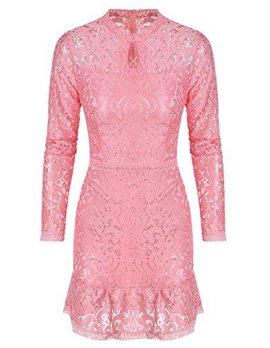 Damen Lang Ärmel Empire Taille Schnüren Bodycon Mini Kleid Pink