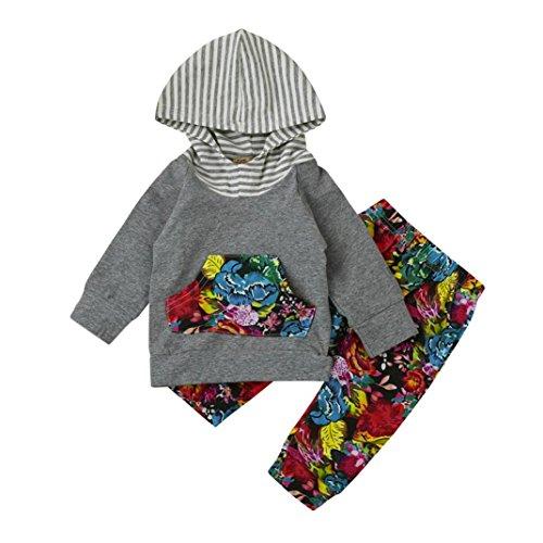 Baby Anziehsachen Hirolan 2pcs Anzug Baby Kleinkind Junge Mädchen Blumen Kapuzenpullover Lange Hülse Tops Baumwolle Kleider Set Elastisch Taille Hose Mode Outfits (70cm, Mehrfarbig)