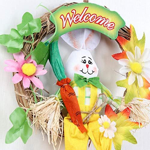 Hunpta@ Osterhase Halloween Kranz Vogelscheuche handgemacht Farbe Tier Kindergartenkinder handgefertigte niedliche Kleine Hase (Gelb) (Halloween Für Kindergartenkinder)