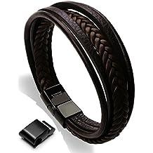 Pulsera de Cuero para Hombres - Xikeo - Pulsera de Multi-hilo Cuero Trenzado con una Ajustable Negra Hebilla Magnética
