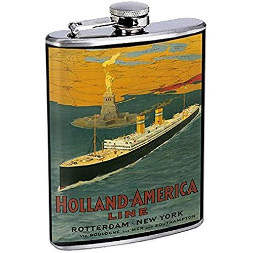 Perfektion In Der Art-Edelstahl-Flasche Vintages Plakat D-075 Holland America Line Rotterdam New York Über Boulogne 7OZ