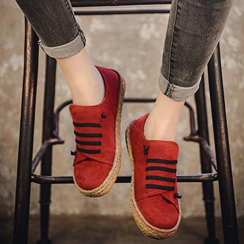 OverDose Derby Plates Suède Femme Bottines Toile Rouge Lacets à Daim Baskets Chaussures Flat YWqUEOn