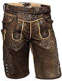 """Pantaloni corti da uomo, costume tradizionale in pelle """"karl"""" in pelle scamosciata, lardo moor-antico.-, KHTLK4462, 56"""
