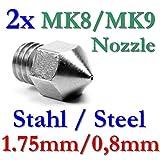 2x MK8 MK9 Präzisions 3D Drucker Düse Edelstahl 0,8mm