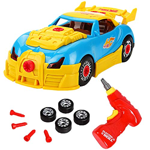ROYAKWA Construction Toys�Take Apart Toys Car Racing| 3D Take Apart Pieces With Realistic Sounds & Lights| Educational Toys Kit Tools Drill Real Lights and Sounds,Gift for Kids 3 Years and Up