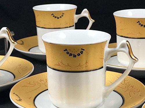 Topkapi – 12-tlg Tassen-Set Gloria Gold, als Kaffee-Set, Tee-Set, Espresso-Set, Porzellan mit...
