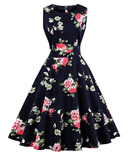 FAIRY-COUPLE-50s-Vintage-Retro-Floral-Cocktail-Swing-Party-Dress-With-Bow