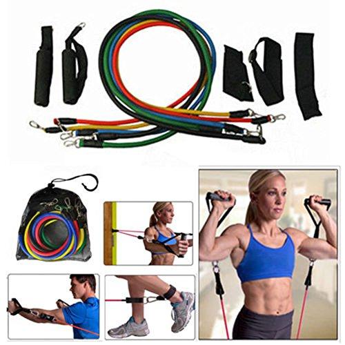 EMOTREE 11tlg. Expander-Set Fitness Tube Gymnastikband Yoga Latex Band Fitnessbänder Trainingsbänder Bauchmuskeln