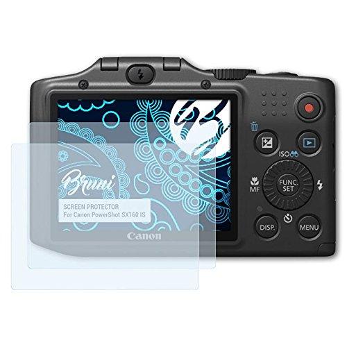 Bruni Schutzfolie für Canon PowerShot SX160 is Folie - 2 x glasklare Displayschutzfolie