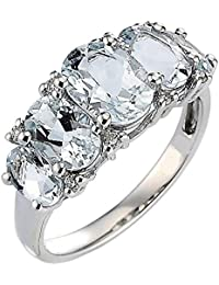 Clearance 2.00 Carat Oval Shaped March Birthstone Aquamarine & Diamond Designer Ring, Sterling Silver