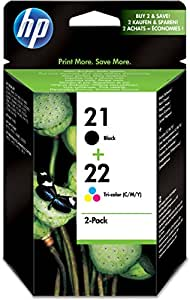 HP 21 Black/22 Tri-color 2-pack Original Ink Cartridges (SD367AE)
