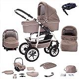 Bebebi Bellami   ISOFIX Basis & Autositz   4 in 1 Kombi Kinderwagen   Hartgummireifen   Farbe: Bellataupe