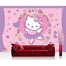 Papel Pintado Fotográfico Premium Plus pared papel pintado fotográfico–cuadro de papel pintado–Chica Hello Kitty–Papel pintado infantil dibujos animados Gato flores corazones Niños Lila–No. 1020, mehrfarbig, lila, Fototapete 368x254cm | PREMIUM Blue Back