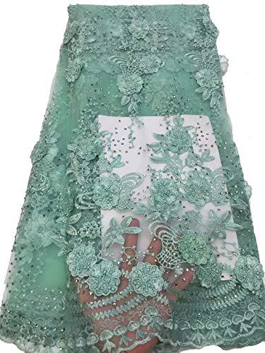 Massima qualità 3d applique lacci tessuto 6colori africano pizzo tessuto 4,6m 2019ricamato nigeriano lacci tessuto rosa sposa francese tulle pizzo tessuto per le donne verde chiaro