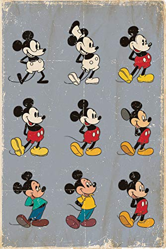 Disney Mickey Mouse 'Evolution' Maxi Poster, 61 x 91.5 cm Mehrfarbig