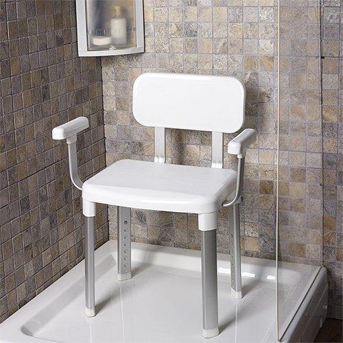 Wannensitz - Duschstuhl - Badewannenstuhl - Duschhocker mit Rückenlehne - Badsitze mit Modellauswahl (Dusch- und Badstuhl mit Arm- und Rückenlehne)