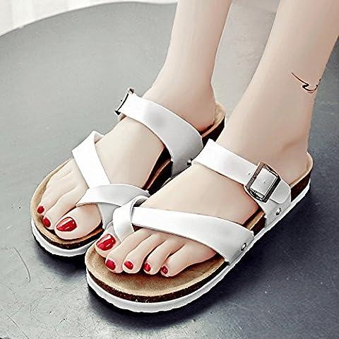 XY&GKSandales femmes jeu été tongs sandales à semelle épaisse femelle All-Match , Chaussures 39, blanc,avec le meilleur
