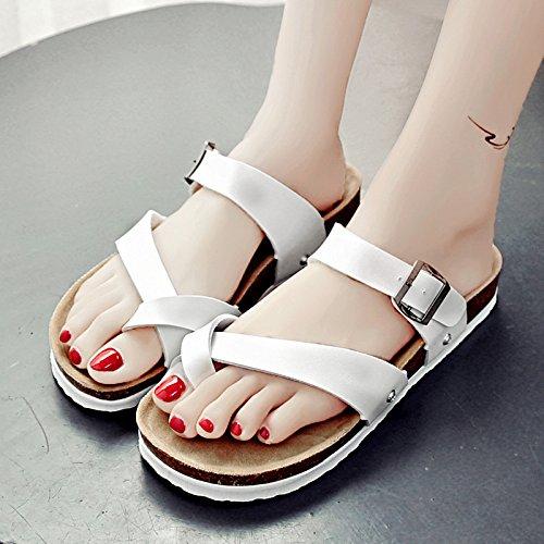 RUGAI-UE Serie estate flop donne di spessore con suole di scarpe sandali ciabattine Beach White
