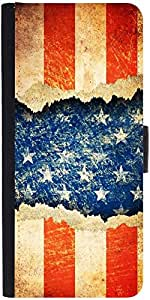 Snoogg Grunge America Graphic Snap On Hard Back Leather + Pc Flip Cover Samsu...