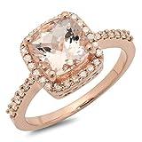 Damen Ring 14 Karat Rotgold Cushion Schnitt Morganite & Rund Diamant Damen Halo Verlobungsring