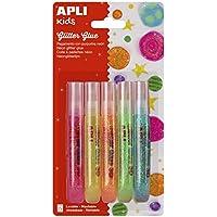 APLI Kids - Pack glitter glue 3D adhesivo colores neón, 5 uds