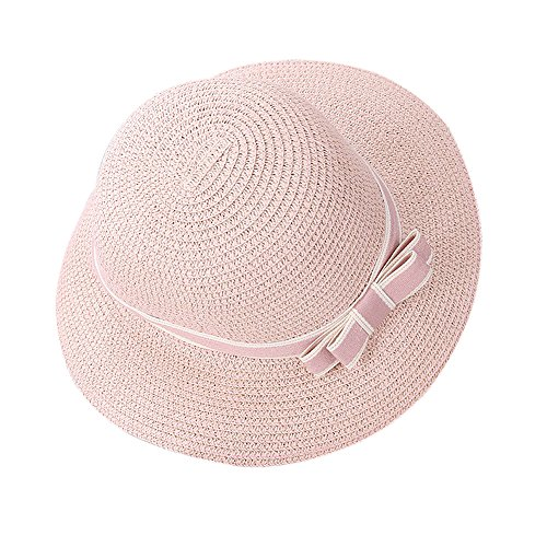 Butterme Frauen Mädchen Stroh Sonnenhut, Bowknot Dekoration Floppy Hat, Wide Brim Beach Sun Visor Hut, Summer Beach Cap (Rosa) (Brim Hat Floppy)