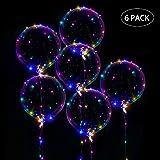 LED Luftballons Hochzeit Bobo Helium Luftballons Transparente LED Ballons mit Bunte Lichterkette für Party Geburtstage, Jahrestag Feierlichkeiten, Weihnachten Feste Zuhause Dekoration,(6 Stück)
