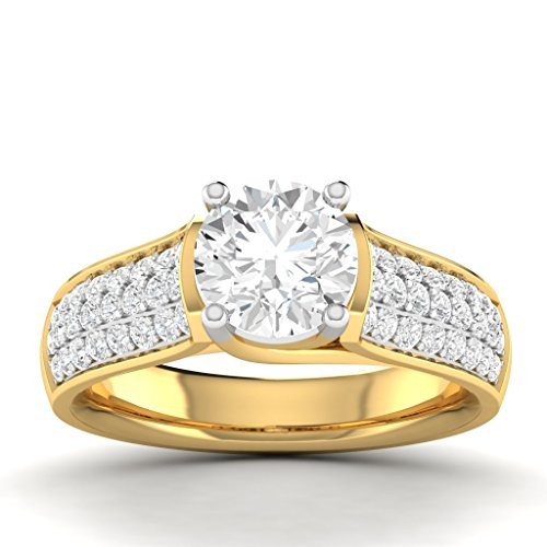Vijisan 3.96 Ct. Gold Rhodium Plated 925 Sterling Silver Solitaire With Accents Ring For Women