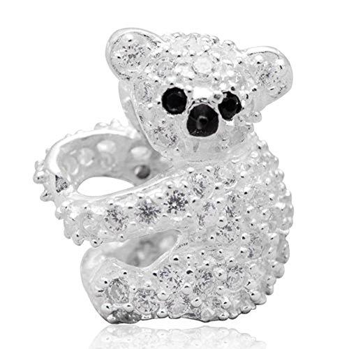 Koala encanto genuino 925plata de ley zircon Piedra Bead para European marca pulsera joyas
