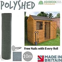 Ashbrook Roofing Super Grade 10m Shed Felt Polyester Reinforced - Green Mineral