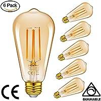Emotionlite LED Edison Bombillas, Bombillas de Filamento LED Regulable, 4W (40W Equivalente), Bombilla Estilo Vintage ST64LF, Base E27 Mediana, Resplandor Ámbar, 2200K, Paquete de 6