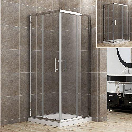 Preisvergleich Produktbild 90x90cm Eckeinstieg Duschkabine Sicherheitsglas Schiebetür Eckdusche Duschabtrennung Duschschiebetür Glas