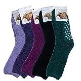 Art of Baan® 5076 5 Paar flauschige Kuschelsocken mit ABS,, farbig gemischt, Größe 35-38
