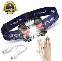 eecoo Lampada Frontale LED USB Ricaricabile 1200 mAh, Lampada Testa IPX4 8 modalità Sensore Movimento, Torcia 6000K 300lm 30h Durata Ideale per Running, Pesca, Campeggio, Lettura, Trekking, Ciclismo