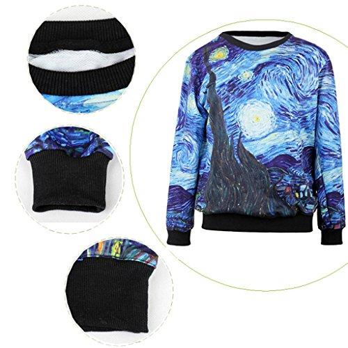 Jiayiqi Hauts De Casual Sweatshirt Femmes Mode Pulls Imprimé Coloré Nuit étoilée