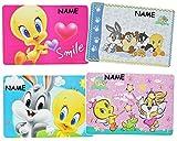 2 Stück _ Unterlage - Baby Looney Tunes Tweety incl. Name - 43 cm * 29 cm - Tischunterlage / Platzdeckchen / Malunterlage / Knetunterlage / Eßunterlage - Tiere Tier - für Kinder Mädchen Jungen / kleine Schreibunterlage